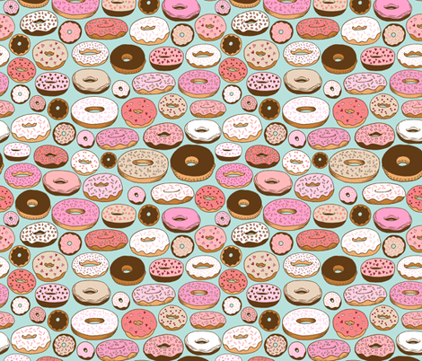 Don T Touch My Phone Wallpaper Cute Donuts On Blue Fabric Kristinnohe Spoonflower