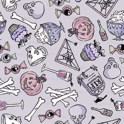 Cute Witchy Wallpapers Halloween Jumble Pastel Fabric Blacklilypie Spoonflower