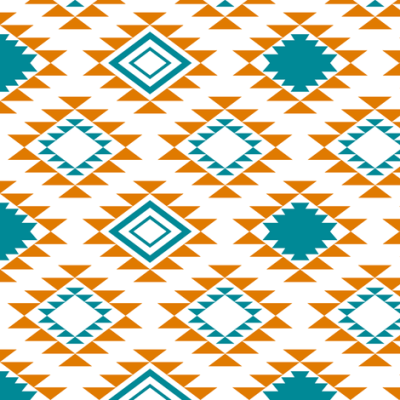 Orange Teal Aztec fabric - mrshervi - Spoonflower