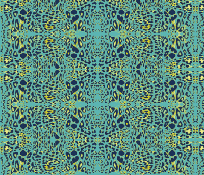 The Wild Side in Navy, Teal and Mustard fabric - azureelizabethdesign - Spoonflower