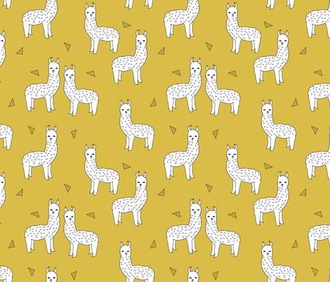Cute Llama Wallpaper Desktop Alpaca Mustard Yellow Alpaca Fabric Cute Andrea Lauren