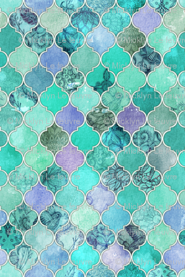 Cute Wallpapers Green Mint Pale Mint Amp Lilac Decorative Moroccan Tiles Fabric