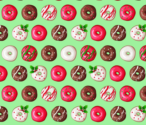Cute Cupcake Wallpaper Christmas Donuts Fabric Tictactogs Spoonflower