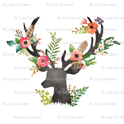 Design Love Fest Wallpaper Fall Floral Deer Fabric Shopcabin Spoonflower