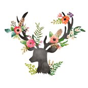 Its Fall Yall Wallpaper Floral Deer Fabric Shopcabin Spoonflower