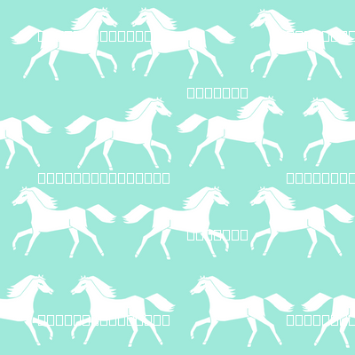 Pink Flower And Heart Wallpaper For Little Girls Horses Running Horses Mint And White Girly Pastel Horse