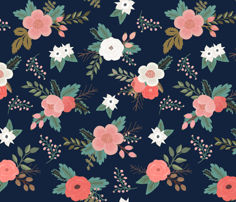 Cute Wallpapers With Bff Quote Sweet Bouquets In Navy And Coral Fabric