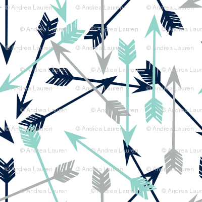 Cute Tribal Patterns Wallpaper Arrows Navy Mint Grey Boy Nursery Kids Giftwrap