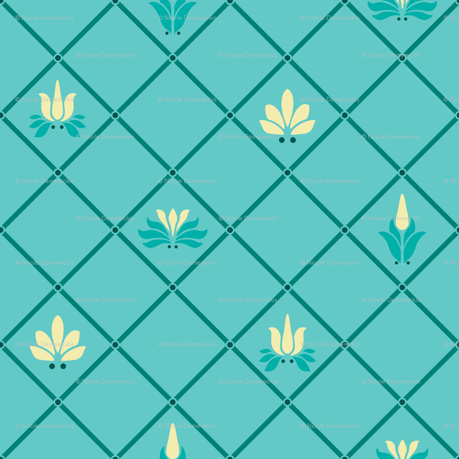 Art Nouveau Yellow Art Nouveau Flowers And Leaves Trellis Teal Yellow Fabric