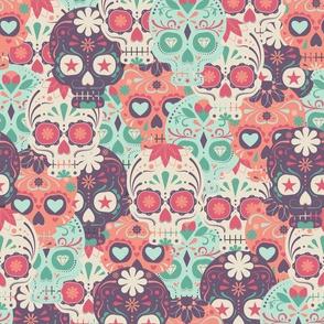 Cute Dia De Los Muertos Wallpaper Sugar Skull Fabric Wallpaper Amp Gift Wrap Spoonflower