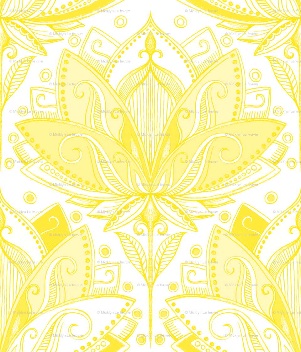 Art Nouveau Yellow Sunshine Yellow Art Nouveau Lotus Lace Giftwrap Micklyn