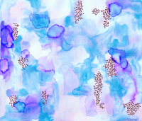 hand-painted watercolor abstract // blue + lavender ...