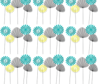 Mid-Century Flowers Teal and Yellow wallpaper - mid ...