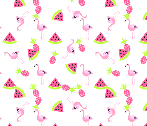 Cute Wallpapers For Girls In The Fall Flamingo Watermelon And Pineapple Fabric Yopixart