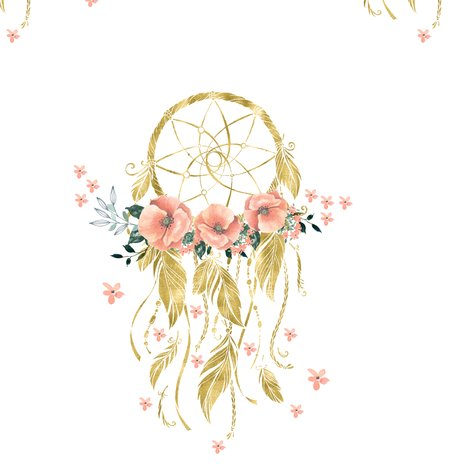 Pale Pink Wallpaper For Girl Nursery Sweet Dreams Baby Girl Dream Catcher Gold 7 Quot Fabric