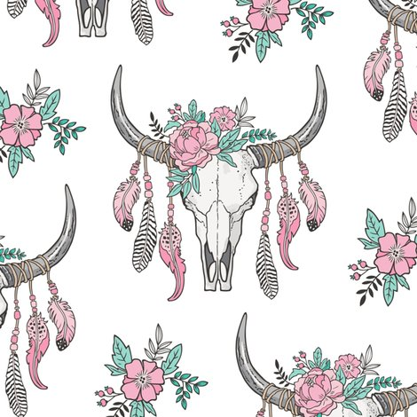 Fall Flannel Wallpaper Boho Longhorn Cow Skull With Feathers And Flowers Pink