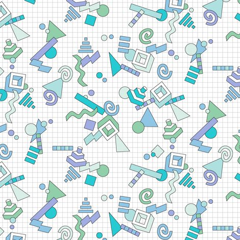 Geekometric* (Blues) 80s retro geometric math shapes 3d geek nerd - 3d graph paper