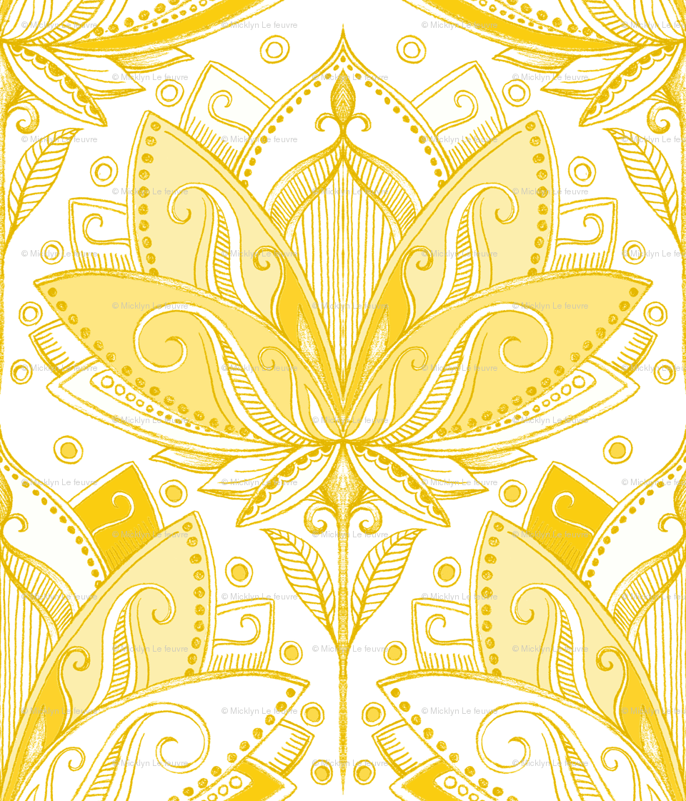 Art Nouveau Yellow Warm Golden Yellow Art Nouveau Lotus Lace Fabric Micklyn