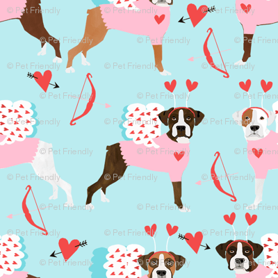 boxer love bug cupid costume dog breed fabric blue fabric