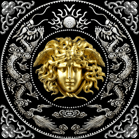 Fusion Fall Wallpaper Hd 2 Gold Silver Medusa Versace Inspired Baroque Rococo Black