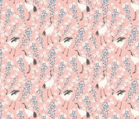 Cranes Pink_Japanese Garden_The Tiny garden fabric - the ...