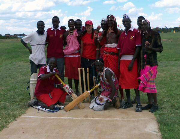 The Maasai Cricket Warriors at the wicket