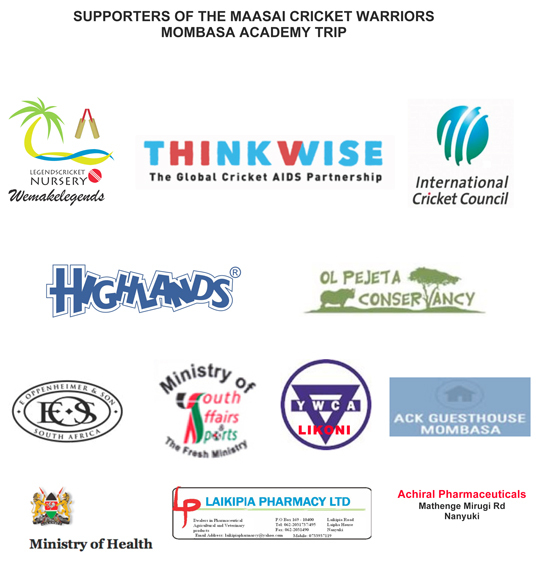 We are grateful to all our supporters who made the Mombasa academy training possible for the Maasai Cricket Warriors