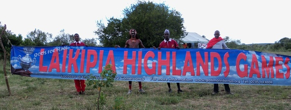 The Maasai Cricket Warriors announcing their arrival at the Laikipia Highland Games