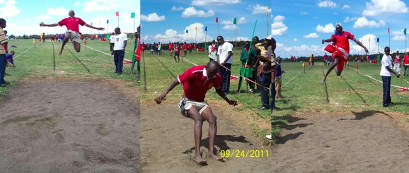 Ltemulai & Sonyanga showing off their skills in the long jump