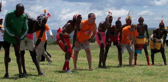 Participating in the Morans (Warriors) 400m race at the Laikipia Highland Games together with a few British Army soldiers