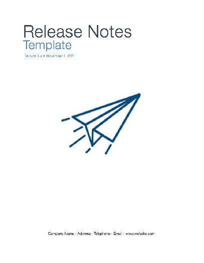 Release Notes (Apple iWork Pages/Numbers) - release notes template