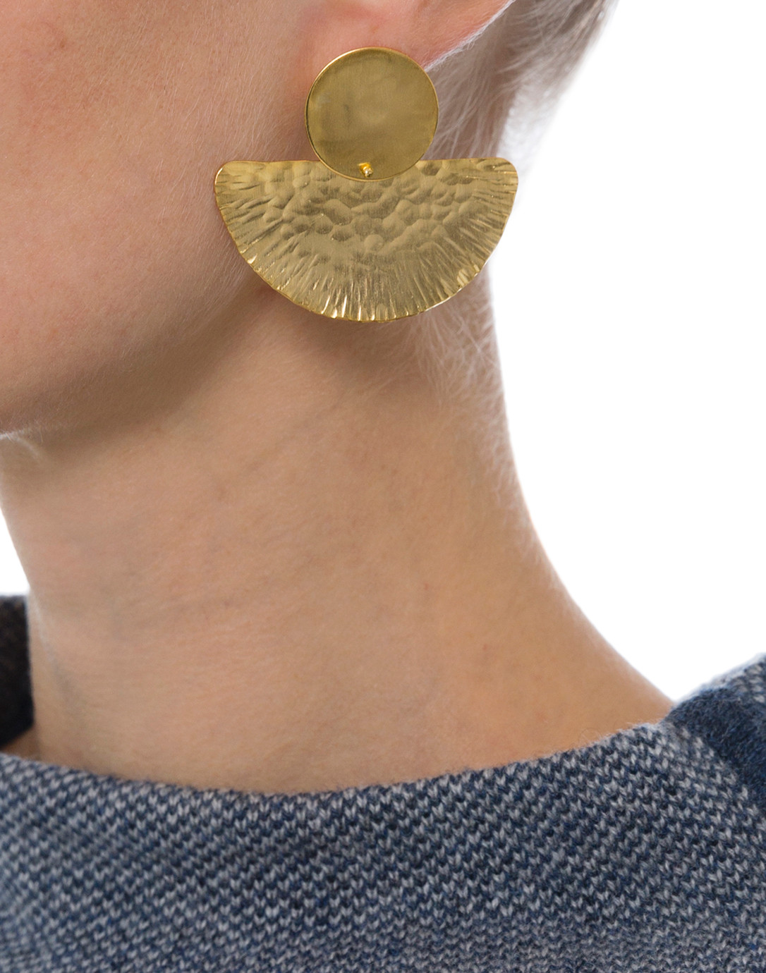 Gold Circle and Half Moon Earring