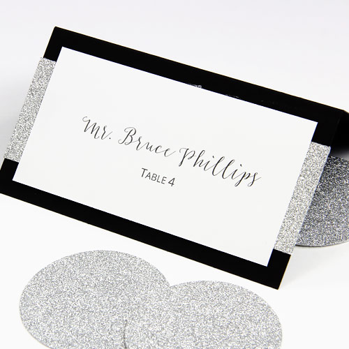 Make Your Own Layered Wedding Place Cards With Glitter Paper