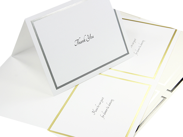 LCI White Silver 2up Printable Card - A9 (5 1/2 x 8 1/2) Foil Border