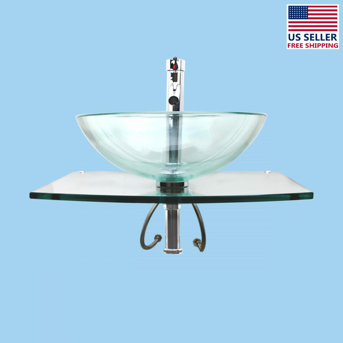 Unique Sinks Unique Tempered Glass Wall Mount Vessel Sink Clear Durable