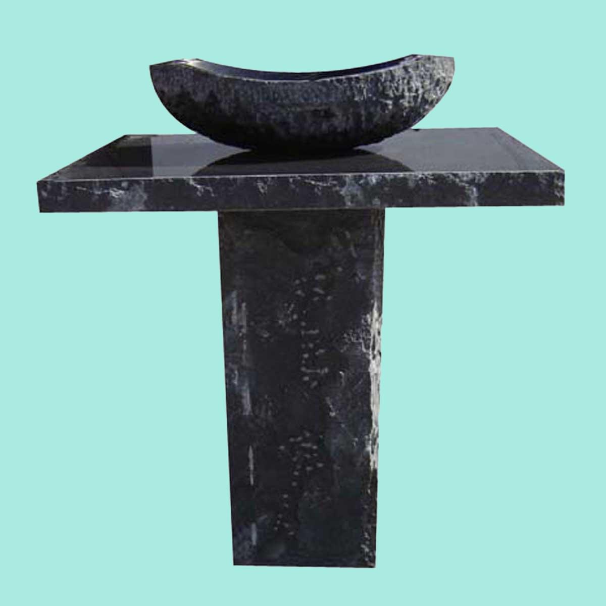 Marble Black White Granite Hand Carved Granite Pedestal Sink