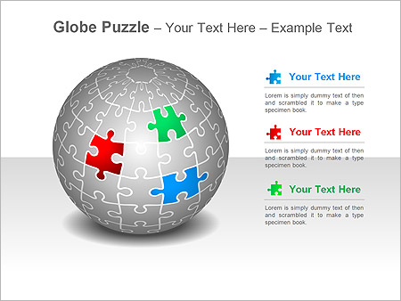Globe Puzzle PPT Diagrams  Chart  Design ID 0000001794