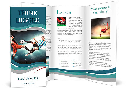 Football player makes injury to an opponent Not fair play - powerpoint flyer template