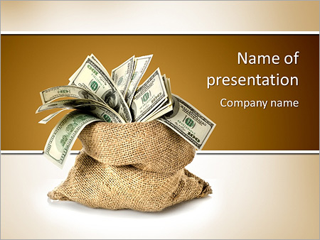 Money in the bag isolated on a white background PowerPoint Template - money background for powerpoint