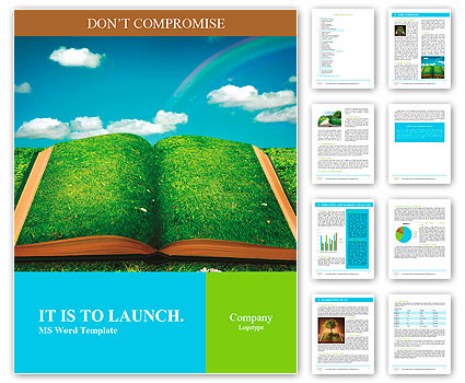 Open magic book of nature Word Template  Design ID 0000010268 - template word