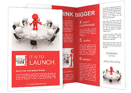 3d people - men, person at conference table Leadership and team - conference brochure template
