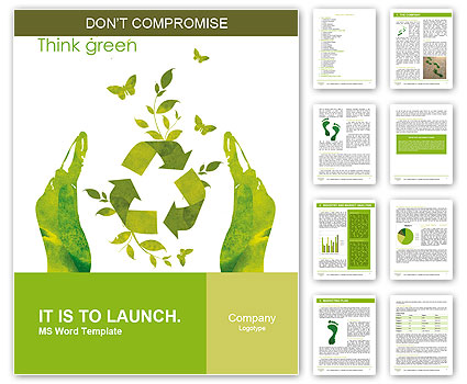 Sign ecology save nature together Word Template  Design ID