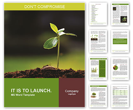 Green plant on a dark background Word Template  Design ID