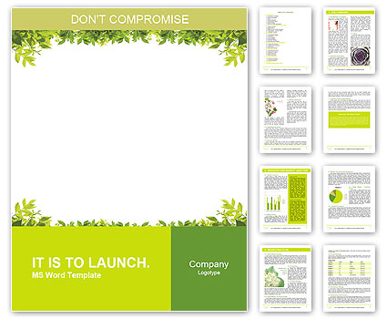 Frame of green leaves Word Template  Design ID 0000010648 - template word