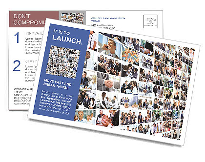 Business collage with the name of the presentation Postcard Template