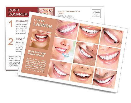 Photo collage of beautiful smiles Postcard Template  Design ID