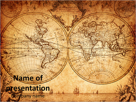 Vintage World Map PowerPoint Template, Backgrounds  Google Slides - powerpoint backgrounds vintage
