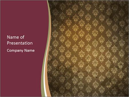 Vintage Interior Wallpaper PowerPoint Template  Backgrounds ID - powerpoint backgrounds vintage