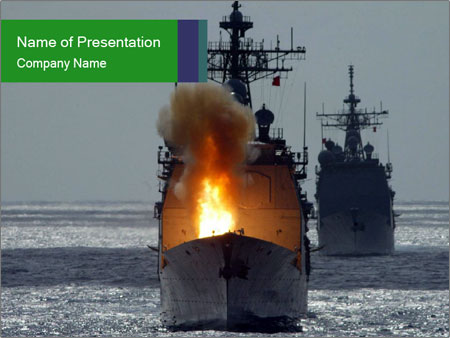 Fire on Military Ship PowerPoint Template, Backgrounds  Google