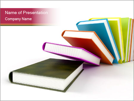 Colorful Books on White Background PowerPoint Template, Backgrounds - Powerpoint Books